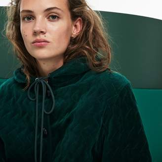Lacoste Women's Fashion Show Hooded Oversized Quilted Velour Sweatshirt