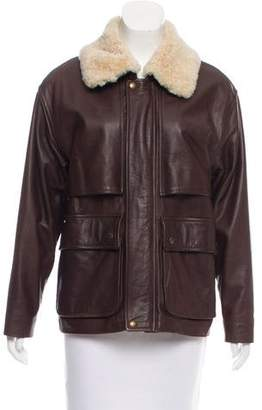 Burberry Point-Collar Leather Jacket