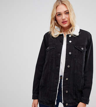 Asos Tall DESIGN Tall denim jacket with borg collar in washed black