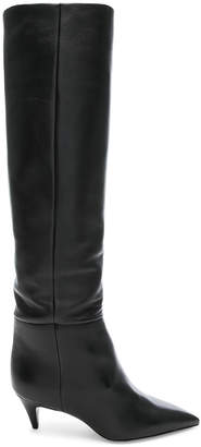 Saint Laurent Leather Charlotte Kitten Heel Knee High Boots