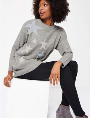 Grey Star Knit Tunic Dress