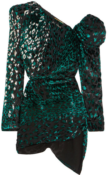 Saint Laurent Saint Laurent - One-shoulder Embellished Devoré Velvet Mini Dress - Emerald