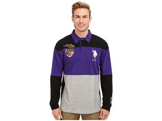 U.S. Polo Assn. Jersey Color Block Rugby Polo Men's Long Sleeve Pullover