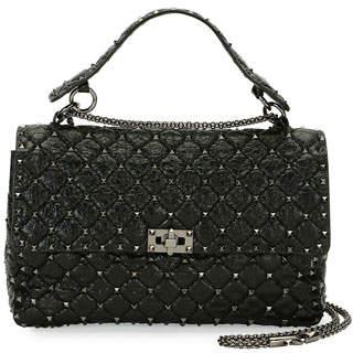 Valentino Rockstud Large Quilted Shoulder Bag, Black