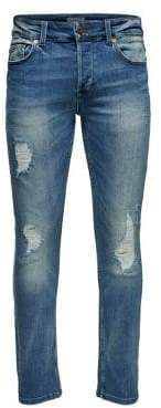 ONLY & SONS Slim-Fit Distressed Stretch Jeans