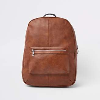 4bb2f3661a004 River Island Mens Brown faux leather front pocket backpack