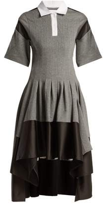 Koché Koche - Short Sleeved Pleated Asymmetric Hem Dress - Womens - Grey