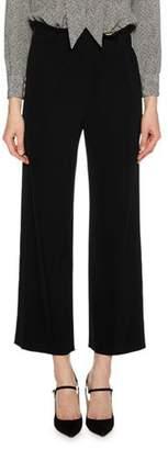 Giorgio Armani Paperbag-Waist Stretch-Cady Straight-Leg Pants w/ Tuxedo Stripe