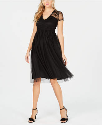 Kensie Mesh Fit & Flare Dress
