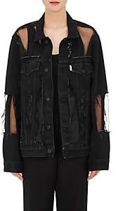 Off-White Women's Organza-Inset Distressed Denim Jacket - Black