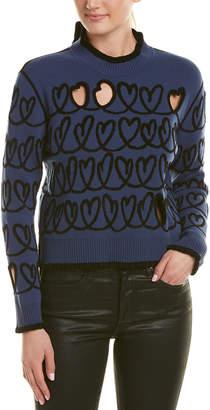 Fendi Pullover Wool-Blend Heart Sweater
