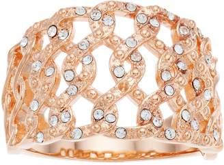 Brilliance+ Brilliance Rose Gold Tone Swarovski Crystal Open Braid Ring
