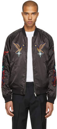 Diesel Reversible Black and Purple Bird J-Sine Bomber Jacket