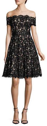 Eliza J Off-Shoulder Lace Cocktail Dress with Belt
