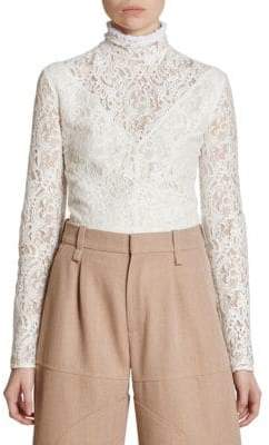 Chloé Lace Ruffle Neck Blouse