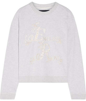 Needle & Thread - English Rose Embroidered Cotton-blend Jersey Sweatshirt - Light gray $175 thestylecure.com