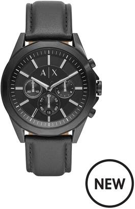 Drexler Black And Silver Dial Chronograph Dial Black Leather Strap Mens Watch