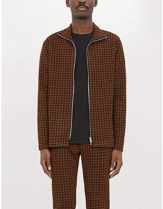PREVU Dogtooth print woven polo track jacket