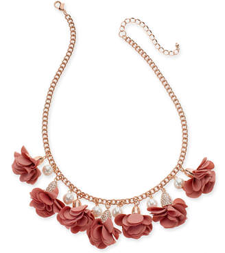 """INC International Concepts Inc Gold-Tone or Rose-Gold Tone Fabric Flower Statement Necklace, 16"""" + 3"""" Extender"""