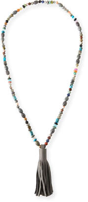 Tropez Hipchik St. Beaded Leather Tassel Necklace