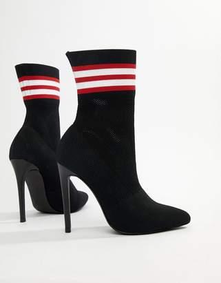 Steve Madden Century black striped sock ankle boots