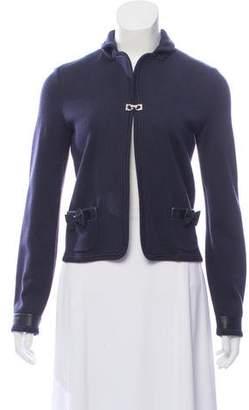 Salvatore Ferragamo Leather-Trimmed Virgin Wool Jacket