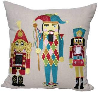 Manor Luxe Classic Christmas Nutcracker Embroidered Christmas Decorative Pillow Feather/Down Filled, 18 by 18-Inch