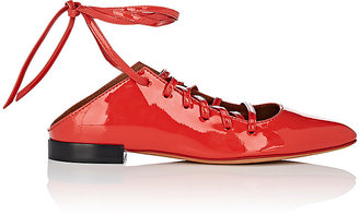 Women's Show Line Patent Leather Lace-Up Flats