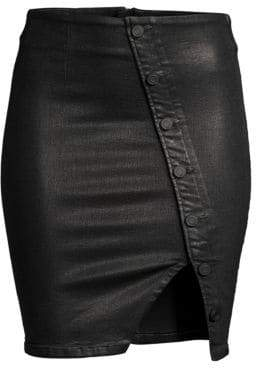 RtA Jolene Coated Stretch Denim Skirt
