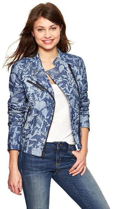 Gap Quilted floral chambray moto jacket