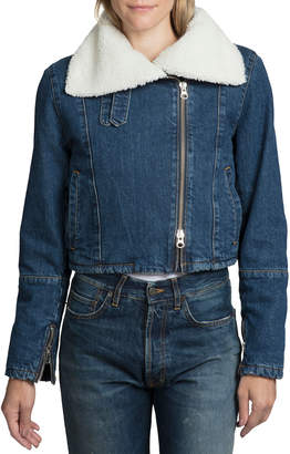 Asymmetrical Cropped Sherpa Denim Moto Jacket