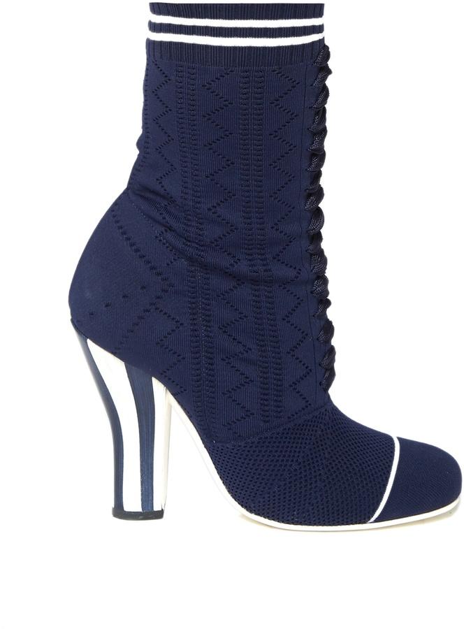 FENDI Striped-heel sock boots
