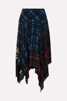 Preen Line Hafsu Asymmetric Fringed Checked Crepe De Chine Midi Skirt - Black