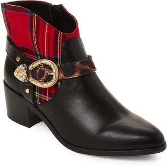 Betsey Johnson Black Wilma Plaid Ankle Booties