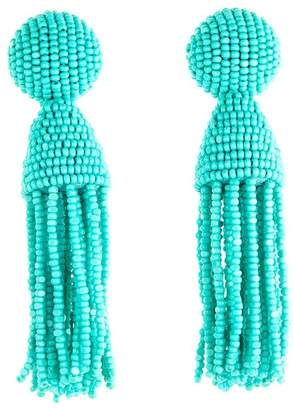 Oscar de la Renta Classic Short Tassel Drop Clip Earrings