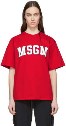 MSGM Red College Logo T-Shirt