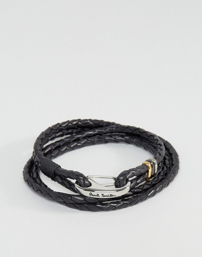 Paul Smith Paul Smith Leather Wrap Bracelet In Black