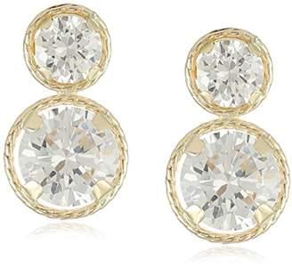 14k Yellow Gold Martini Set Cubic Zirconia Drop Earrings