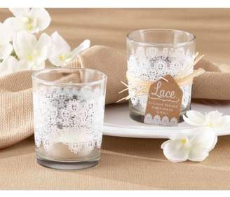 Generic Lace Print Glass Tealight Holder, Set of 4