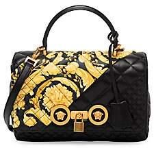 Versace Women's Medium Top Handle Quilted Leather Bag