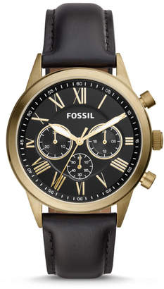 Fossil Flynn Midsize Chronograph Black Leather Watch