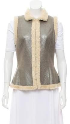Ralph Lauren Mock Neck Shearling Vest