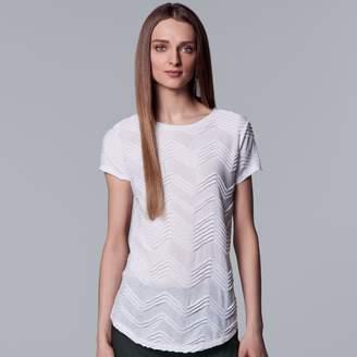 Vera Wang Women's Simply Vera Textured Zigzag Tee