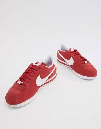 Nike Cortez Suede Sneakers In In Red 902803-600