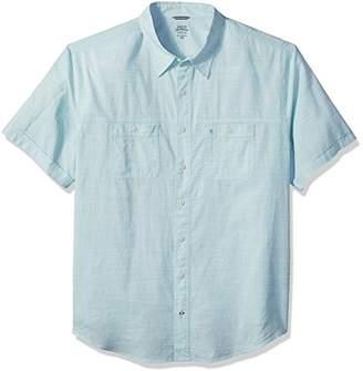 Izod Men's Dockside Chambray Solid Short Sleeve Shirt (Big Tall Slim)