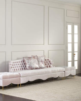 Haute House Valentina Sofa, Ottoman, and Marble-Top Side Table
