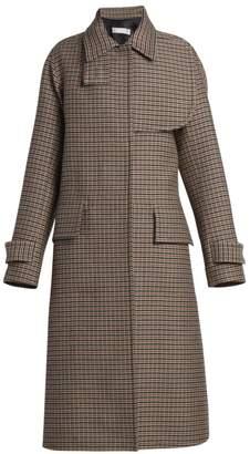 Victoria Beckham Flared Wool Plaid Coat