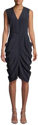 Zero Maria Cornejo Eve Grace Sleeveless Draped Silk Dress