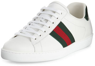 Gucci New Ace Leather Low-Top Sneaker, White/Red/Green $550 thestylecure.com