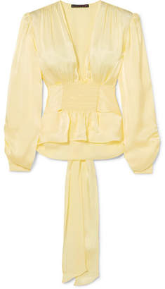 ALEXACHUNG Smocked Satin Blouse - Pastel yellow